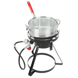 10 Qt. Outdoor Aluminum Fish Deep Fryer Cooker Kit Pot Propa