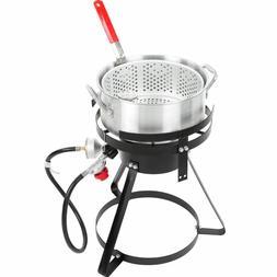 10 Qt. Outdoor Aluminum Fish Deep Fryer Cooker Kit Pot Propa