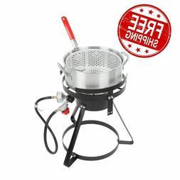 10 Qt Outdoor Aluminum Fish Deep Fryer Cooker Kit Pot Propan