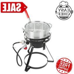 10 Qt Outdoor Aluminum Pro Fish Deep Fryer Cooker Kit Pot Pr