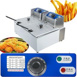 11 Liter Electric Countertop Deep Fryer Dual/Two Tanks Comme