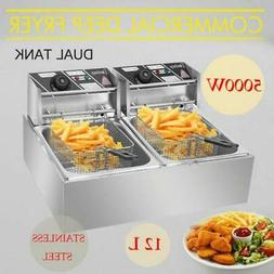 12L Dual Tank Electric Deep Fryer Commercial Restaurant Temp