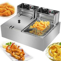 12L Electric Deep Fryer Dual Tank Stainless Steel 2 Fry Bask