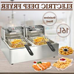 16L Dual Tank Commercial Electric Countertop Deep Fryer Fren