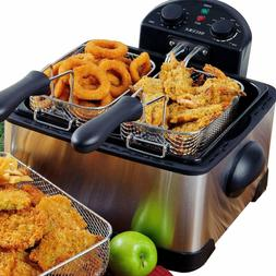 1700-Watt Stainless-Steel Triple Basket Electric Deep Fryer