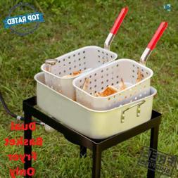 18 Qt. Dual Basket Fish Deep Fryer Cooker Fry Pot With Side