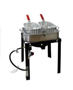 18 Qt. Outdoor Aluminum Dual Basket Fish Deep Fryer Cooker K