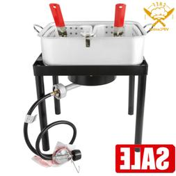 18 Qt. Outdoor Aluminum Dual Basket Fish Deep Fryer Cooker K
