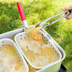 18 Qt. Outdoor Dual Basket Deep Fryer / Wings Fries Fish Coo