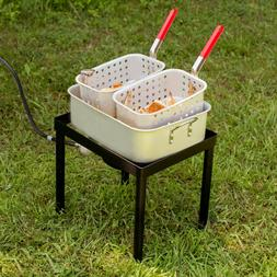 18 Qt. Outdoor Dual Basket Deep Fryer / Wings Fries Fish Coo