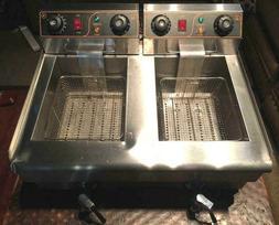 20L Commercial Deep Fryer Electric - Double Basket w/ Oil Ta