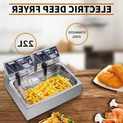 22L Electric Deep Fryer Large Tank Commercial Restaurant Sta