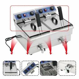 23.4L Commercial Deep Fryer w/Timer Drain Fast Food French F
