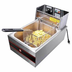 2500W 6 Liter Electric Countertop Deep Fryer Tank Basket Com