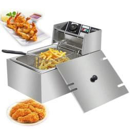 2500W 6.3QT/6L Stainless Steel Electric Deep Fryer Home Comm