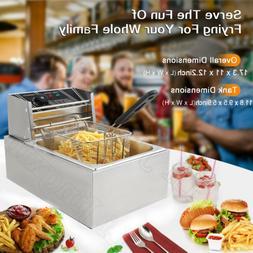 2500W 6L Commercial Electric Countertop Deep Fryer Basket Re