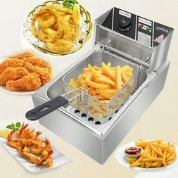 2500W 6L Electric Deep Fryer Commercial Countertop Basket Fr