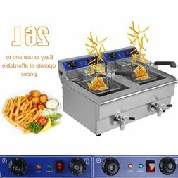 26L Dual Tanks Electric Deep Fryer Commercial Tabletop Fryer