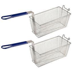 "2Pcs 13x6x6"" Deep Fryer Basket w/ Handle Commercial Restaura"