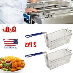 2Pcs Commercial Deep Fryer Basket with Handle for Restaurant