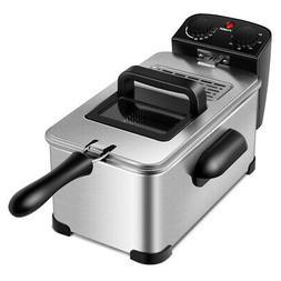 3.2 Quart Electric Deep Fryer 1700W Stainless w/Timer & Fryi