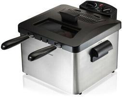 HAMILTON BEACH 3-Basket Deep Fryer Professional-Style w/ Adj