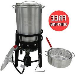 30 Qt Aluminum Turkey & Fish Fryer Set Pot Lid Strainer Bask