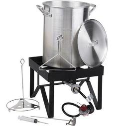 30 Qt Aluminum Turkey Deep Fryer Kit Stock Pot Propane LP Ou