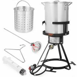 30 QT Aluminum Turkey Deep Fryer Pot and Gas Stove Burner St