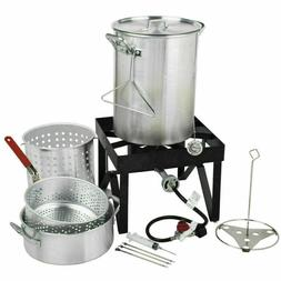 30 Qt Deluxe Aluminum Kit Steamer Turkey Deep Fryer Stock Po