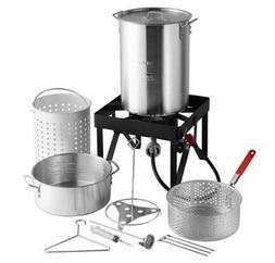 30 Qt Deluxe Aluminum Turkey Deep Fryer Kit Steamer Stock Po