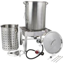 30 Qt STAINLESS STEEL Turkey Deep Fryer Kit Steamer Stock Po