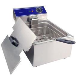 3000W Stainless Steel Electric Deep Fryer Basket Single Tank