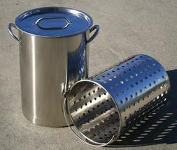 CONCORD 36 QT Stainless Steel Stock Pot w/Basket. Heavy Kett