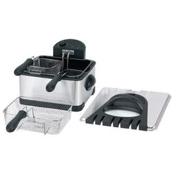 4qt stainless steel electric deep fryer two