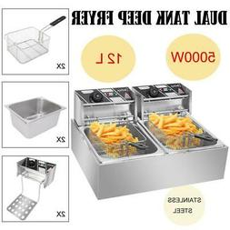 5 KW Electric Deep Fryer Dual Tank 12L Home Commercial Resta
