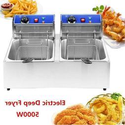 5000W 12L Electric Deep Fryer Dual Tank Commercial Restauran
