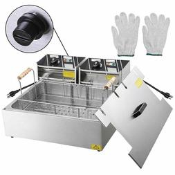 5000W Commercial Electric Countertop Deep Fryer Stainless St