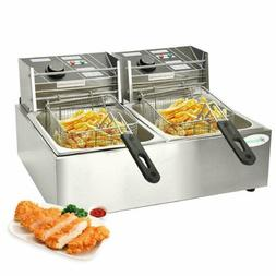 5000W Countertop Electric Deep Fryer Dual Commercial Stainle