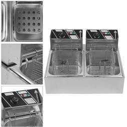 5000W Electric Countertop Deep Fryer Dual Tank Commercial Re