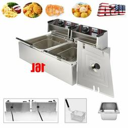 5000W Electric Deep Fryer 20L Dual Tank Stainless Steel Comm