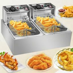 5000W Electric Deep Fryer Dual Tank Commercial Restaurant 12