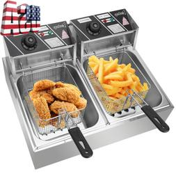 6/12LCommercial Electric Deep Fryer Kitchen Restaurant Fryin