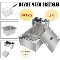 6.3 QT Commercial Home Electric Deep Fryer Stainless Steel F