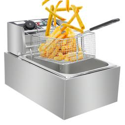6L Electric Deep Fryer Cylinder Commercial Countertop Basket