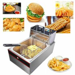 6L Electric SS Countertop Deep Fryer Commercial 2500W 110V/6