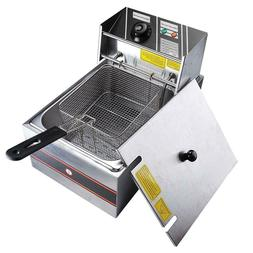 6L Stainless Steel Electric Countertop Deep Fryer Commercial