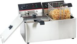 Hakka 6Lx2 Commercial Stainless Steel Deep Fryers Electric P
