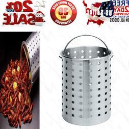 Aluminum Basket Strainer Perforated Pot Turkey Boiler Deep F