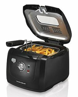 Black Electric Deep Fryer Cooking Oil with Cool Touch Hamilt